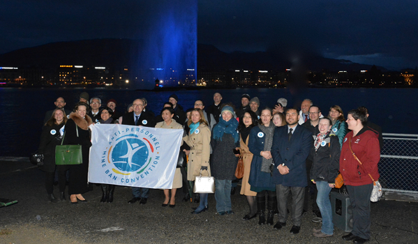 Geneva Jet d'Eau Lit Blue in Honor of Mine Ban Treaty 20th Anniversary